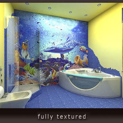 mosaic bathroom 3d model