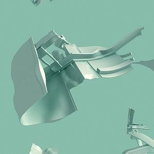3d debris metal twisted model