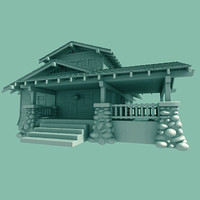 craftsman home bungalow 3d model