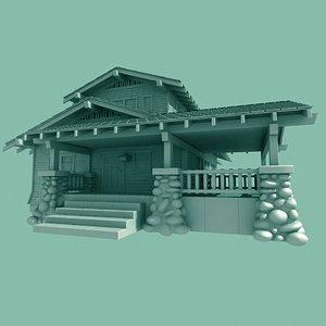 craftsman home bungalow 3d model