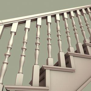 staircase railing 3d max