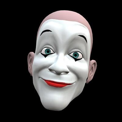 clown head rigged 3d model