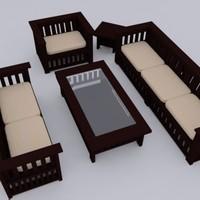 teakwood furniture boxy set 3d max
