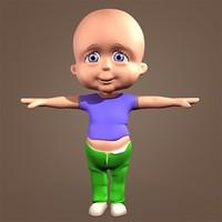 cute little girl 3d model