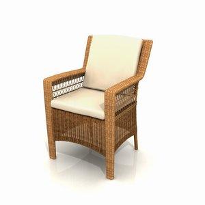 wicker garden armchair furniture 3d 3ds