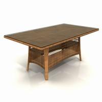 wicker garden table 01 3d obj
