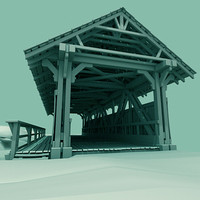 3d model old covered bridge