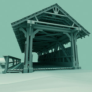 3d model old covered bridge
