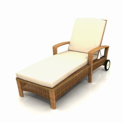 garden deckchair 01 3d model
