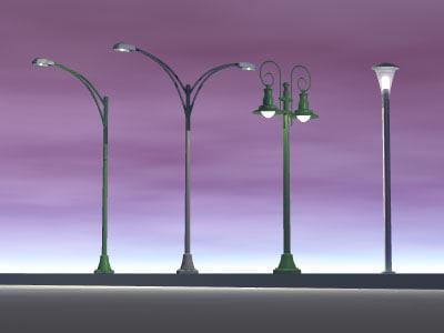 3ds street lamps set