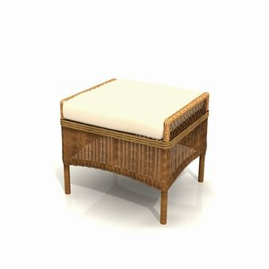wicker garden footstool 01 3ds