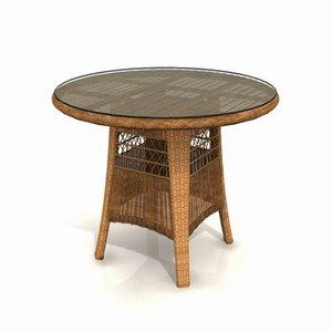 3d wicker garden table 01 model