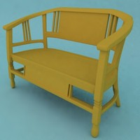 handmade teakwood two-seater 3d max