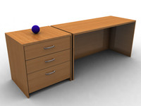 Office Desk and Cabinet With Drawers