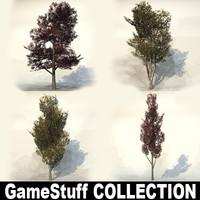 3d autumn trees model