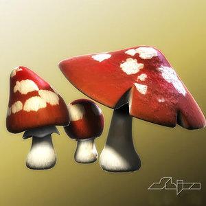 mushrooms 3d max