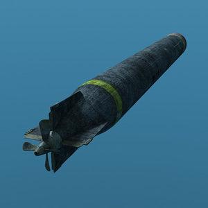 3d model ww1 torpedo