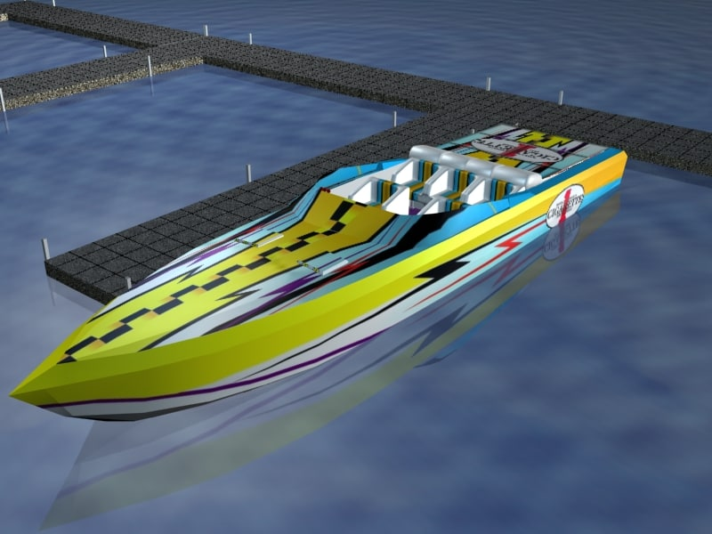 3ds max offshore race boat