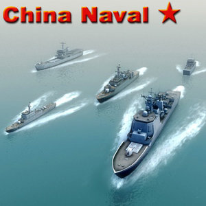 chinese navy destroyer boat ship 3d max
