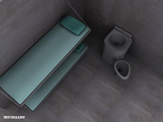 cell bunks toilet 3d model