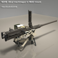 m2hb 50cal machinegun gun 3d model