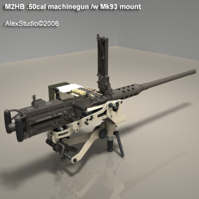 m2hb 50cal machinegun gun 3d model