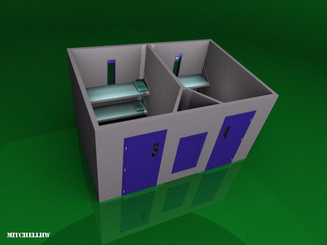3d model of precast cell module prison jail