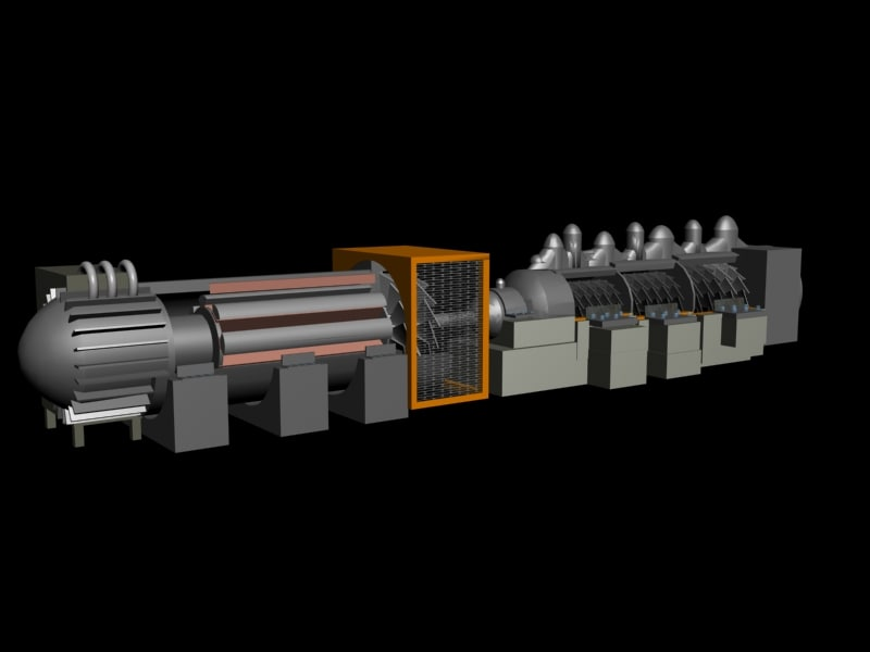 steam turbine power 3d max