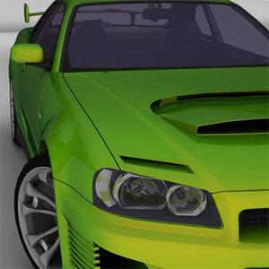 3d nissan skyline 8 car model