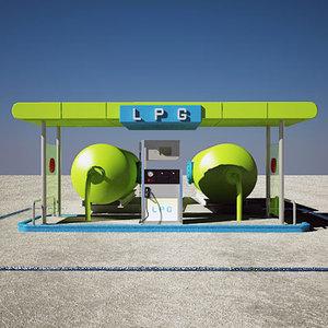station gas lpg 3d model