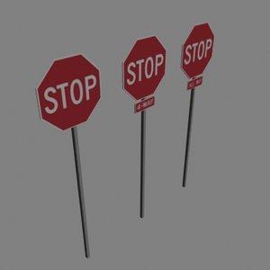 3d model stop signs