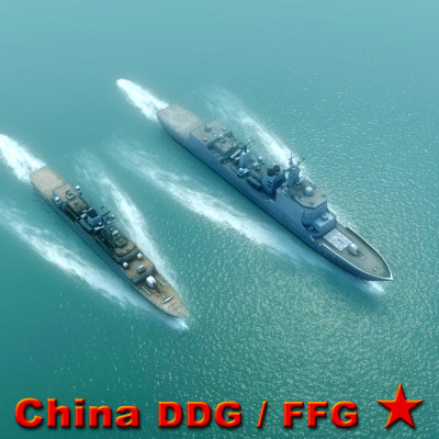 guided missile destroyer chinese navy 3d model