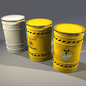 3d nuclear waste drum model