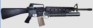3d model rifle m16a2 m203