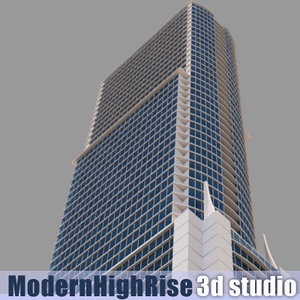 3d 66 story modern rise building model