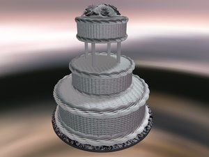 3d basket weave wedding cake model