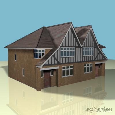 3d house semi tudor model