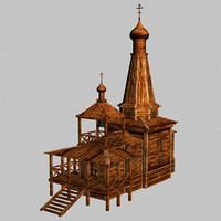 church wooden 3d max