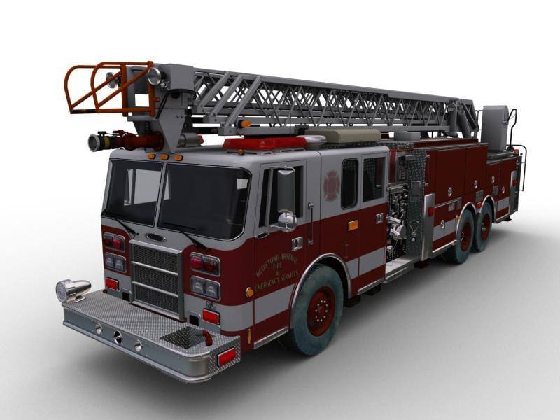 3d model ladder truck firetruck