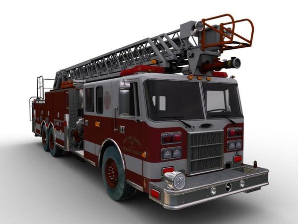 3d obj ladder truck