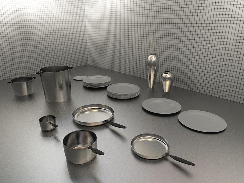kitchen accessories frying pan 3d model