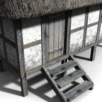 3d medieval granary model