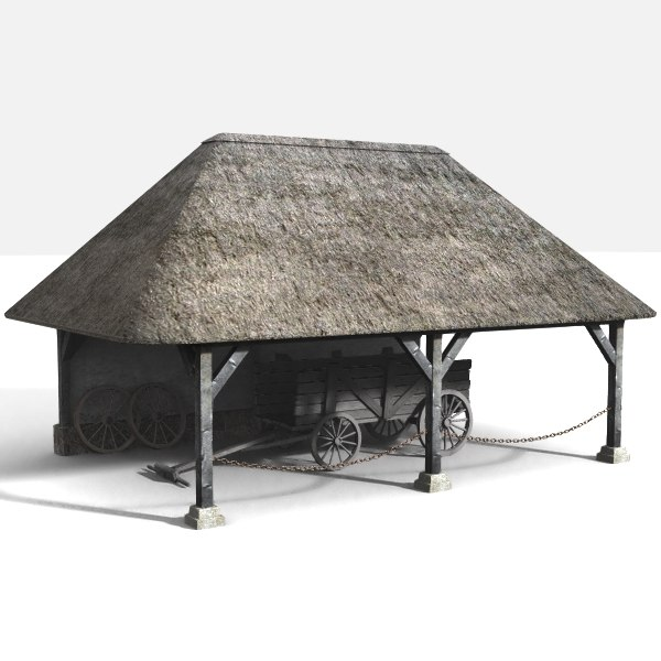 3d model medieval wagon-shed