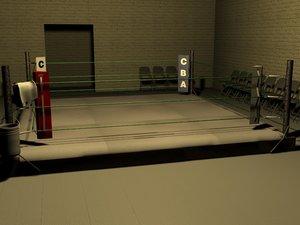 boxing gym ring 3d model