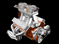 3d model 4-barrel chevrolet engine