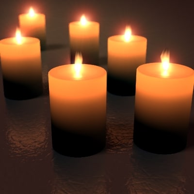 3d candles flame model
