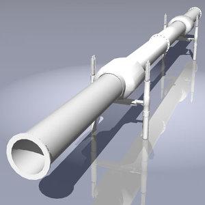 gas oil pipeline heat 3d 3ds