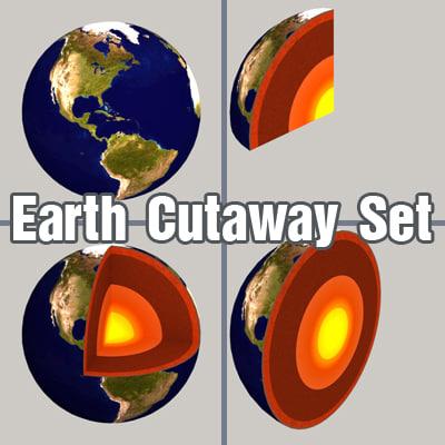 set earth cutaway 3d model