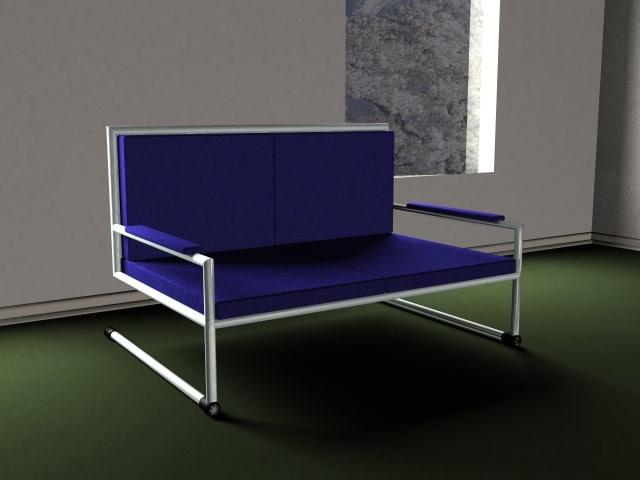 blue modern sofa 3d 3ds