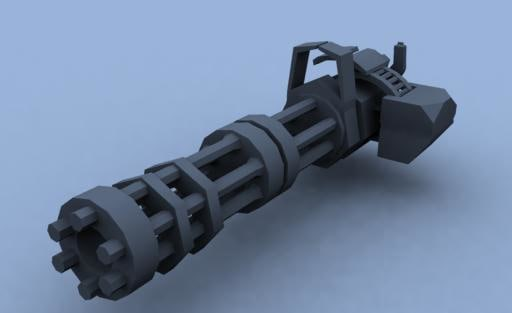 free galting gun 3d model